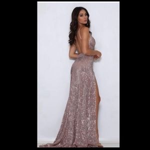 961483d28e15 Abyss by Abby sequin Encore gown in rose gold
